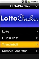 Screenshot of Lotto Checker