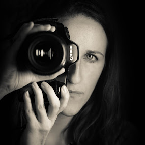 Self Portrait by Kimberly Arend Porter - People Professional People ( black and white, blue eyes, new york, ice light, portrait )