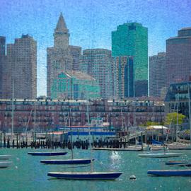 Boston Harbor Sailboats by James Meyer - Buildings & Architecture Office Buildings & Hotels ( jamesmeyerphotography, harbor, city scene, harbour, cityscape, sailboat, boston skyline, boston, bay, sail, marina, boston mass, downtown, city skyline )