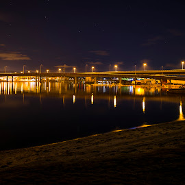 Yellow Bridge Road by Lillian Molstad Andresen - Buildings & Architecture Bridges & Suspended Structures ( water, clouds, sand, reflections, cityscape, beach, architecture, city, norway, lights, constructions, drammen, sky, stars, buildings, night, streetlights, bridge, river )