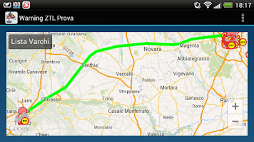 Screenshot of Warning ZTL Prova