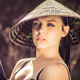Bamboo Hat Girl #2 by Matt Cronin - People Fashion ( girl, woman, beautiful, pretty, hat )