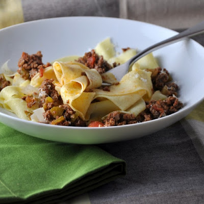 Matthew's Pappardelle with Bison Bolognese Ragu