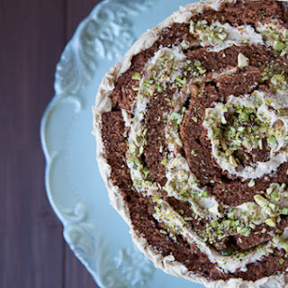 Chocolate Rolled Cake with Brown Sugar Buttercream & Crushed Pistachios