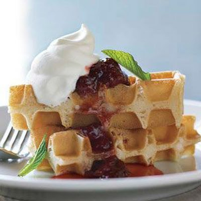 Buttermilk Waffles with French Strawberry Jam