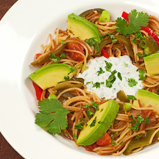 Mexican Toasted Noodles with Cilantro Crema