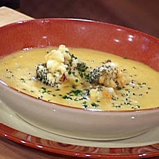 Cheddar and Beer Soup with Tempura Broccoli Florets