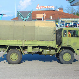 ITALIAN ARMY TRUCK by Walter Carlson - Transportation Other ( army, truck, italy, gas stop, military )