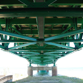 Under the Mackinaw Bridge.  by Gregory Smith - Buildings & Architecture Bridges & Suspended Structures