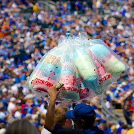 Kansas City Cotton Candy by Jason Gajan - People Group/Corporate ( cotton candy, royals, vendor, koffman stadium, royals crowd )