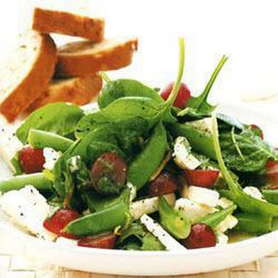 Sugarsnap Salad With Black Grapes And Feta Cheese