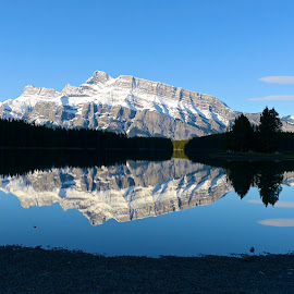 Two over Jack by  J B  - Landscapes Waterscapes ( two jack lake, banff national park, reflections, banff, rundle mountain )
