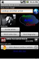 Screenshot of Music Artist Cloud App