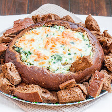 Spinach and Artichoke Dip In a Bread Bowl