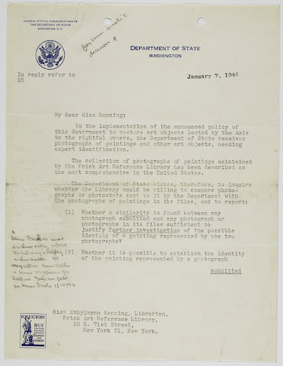 U.S. State Department letter requesting the Library's assistance with post-war efforts to identify and restore looted art objects to the rightful owners.