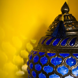 Lamp of Genie by Enext Aja - Artistic Objects Furniture ( alladdin lamp, genie lamp, arabian lamp, yellow background, unique lamp, blue lamp, blue lamp in a yellow background,  )