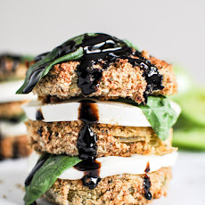 Oven Fried Green Tomato Caprese Stacks