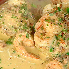 Shrimp in Tasso Cream over Rice Cakes