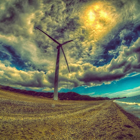 Windmill by Chase Alog - Landscapes Cloud Formations