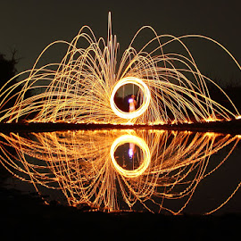 Spinning Fire by Karthi Keyan - Abstract Light Painting ( reflection, steel wool, burning, light, fire )
