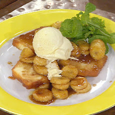 Pan Fried Pound Cake with Cinnamon Ice Cream and Flambeed Bananas