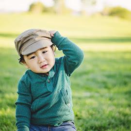 Nolan by Jenna Schwartz - Babies & Children Babies ( park, green, outdoor, cake smash, baby, toddler, shirt, hat )