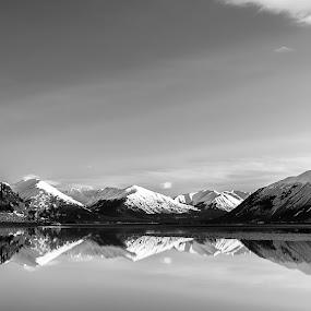 Turnigan Arm by Jeremy Jordan - Black & White Landscapes ( reflection, anchorage, alaska, turnigan arm, ocean )