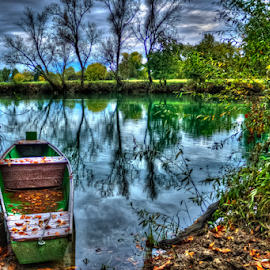 by Oliver Švob - Transportation Boats ( canon, korana, hdr, karlovac, autumn, fall, croatia, boat, wooden boat, fishing boat, river, , color, colorful, nature )