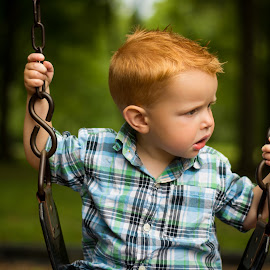 At The Park by Brandi Davis - Babies & Children Toddlers ( child, park, trees, toddler, swing, woods, boy )
