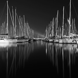 The mirror of life by Marc-Antoine Kikano - Transportation Boats ( blackandwhite, reflection, sailboats, boats, long exposure, night )