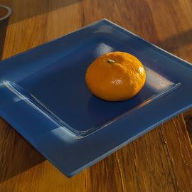 Orange on blue plate by Vibeke Friis - Food & Drink Fruits & Vegetables ( orange, blue, plate, square, orange. color )