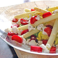 White Asparagus Salad with Goat Cheese and Pickled Rhubarb