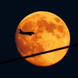 One Small Step by Brendan Mcmenamy - Novices Only Landscapes ( moon, plane, airplane, night, space )