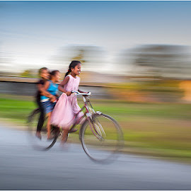 Cycle Fun by Kallol Dutta - People Street & Candids ( panning, color, moment, people, emotion, street photography, Emotion, portrait, human )