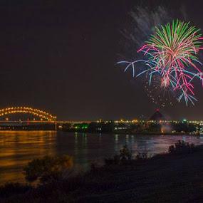 Fireworks over the MS River by Denia Lane - Uncategorized All Uncategorized (  )
