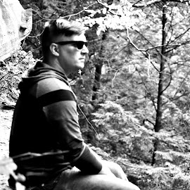 Self Portrait by Charles Shope - People Portraits of Men ( natural light, person, nature, black and white, cliff, hocking hills, leaves, boy, man )