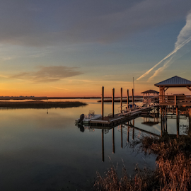 Still Morning by Benjamin Coy - Landscapes Waterscapes ( clouds, water, nature, boats, sc, murrells inlet, sunrise, inlet, south carolina, dock )