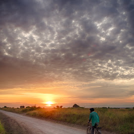 Sunrise cycle by Andy Boyce - Transportation Bicycles ( clouds, cycle, bike, fields )