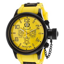 Invicta Men's Russian Diver Chronograph Yellow Dial Yellow Polyurethane