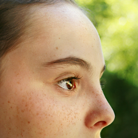 Profile - Flower by Sydney Dowd - Novices Only Portraits & People ( child, girl, color, freckles, pretty, young, profile )