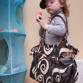 Let`s go shopping by Agnieszka Malik - Babies & Children Children Candids ( child, handbag, funny, dress up, pretend play, shopping, hat )