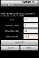 Screenshot of 3 PHASE POWER CALCULATOR