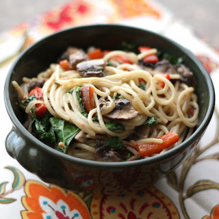 Chipotle Pasta with Kale, Peppers and Mushrooms