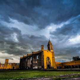 Church at Cholula by Cristobal Garciaferro Rubio - Buildings & Architecture Other Exteriors ( clouds, cholula, church, sunset, mexico, puebla )