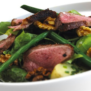 Roast Duck breast salad with a honey and walnut dressing.