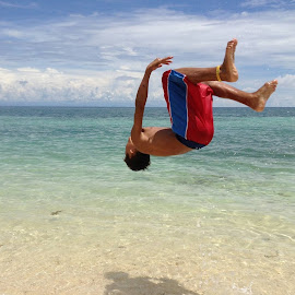 Backflipping Shadow by Dick Shia - Sports & Fitness Swimming ( action shot, beach, swimming, kid )