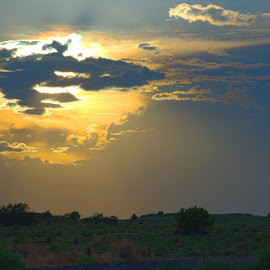 Desert A/C by Jon Foley - Landscapes Cloud Formations ( clouds, backlit, desert, sunset, new mexico,  )