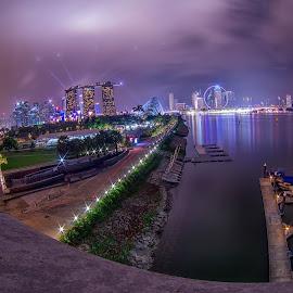 F1 night of Singapore by Wei Jian Kent - City,  Street & Park  City Parks ( night landscape, f1, marina bay, singapore, marina barrage )