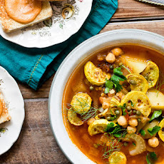 Bouillabaisse With Roasted Yellow Squash & Chickpeas