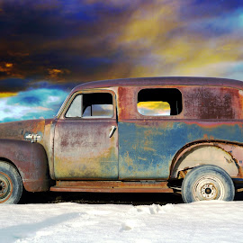 End of the Trip by Joerg Schlagheck - Transportation Automobiles ( stuck roadtrip, old, van, winter, end of the road, snow, panelwagon, trip, rusty, panel van, end, tour. )